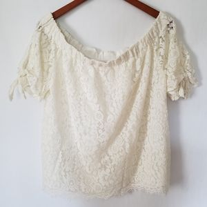 Stella Tweed Off Shoulder Lace Top Size 2X